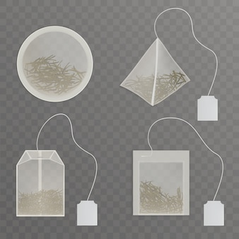 Set round, rectangle, square, pyramid shaped tea bags