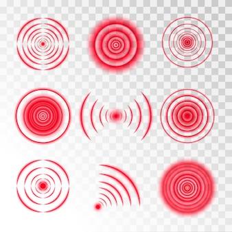 Set of round red signals