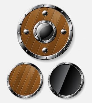 Set of round shields isolated on grey
