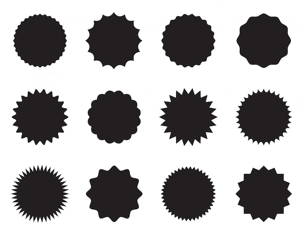Set of round stickers with different edges.