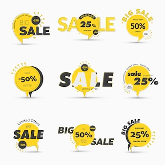 Set of round tags on the leg for mega big sale. temolate of yellow banners with percentages of discounts and special offers and black design lines and strokes.