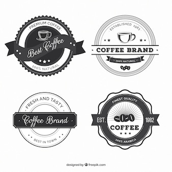 Set of round vintage coffee shop stickers