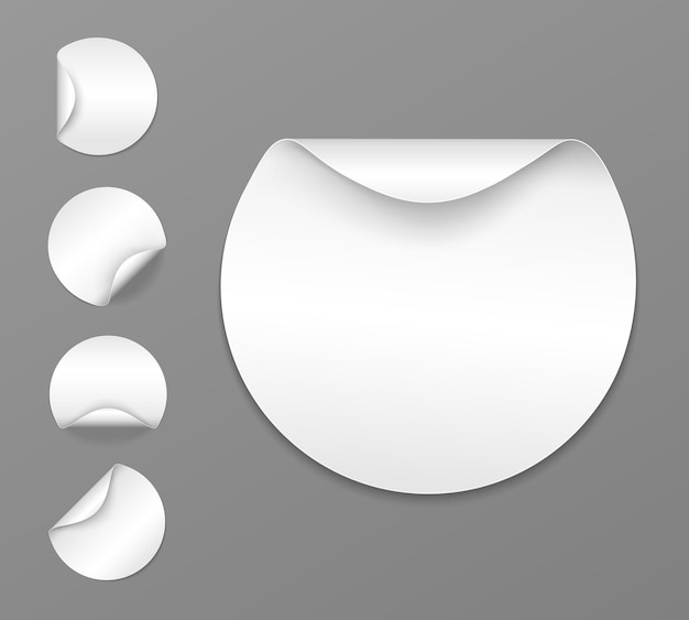 Set of round white sticky labels with bent edges vector cardboard labels