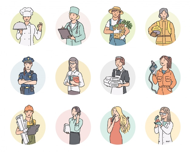둥근 여자에게 다른 직업을 설정하십시오. 프로 유니폼에 라인 아트 스타일에 노동절 사람들이 그림.