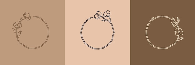 Set of round wreaths with cotton flowers in a minimal linear style. frame with copy space. vector logo of cotton - can be used template for packing cosmetics, organic food, wedding, florist, handmade