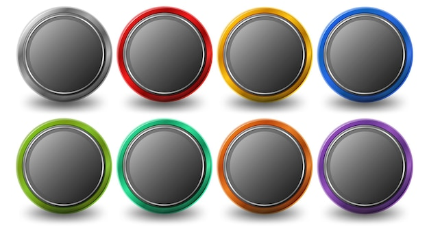 Set of rounded circle button with metal frame isolated on white background