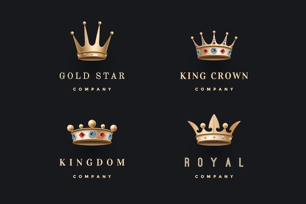 Set of royal gold crowns icons. isolated luxury emblem. collection crowns for royal persons, king, queen, princess.