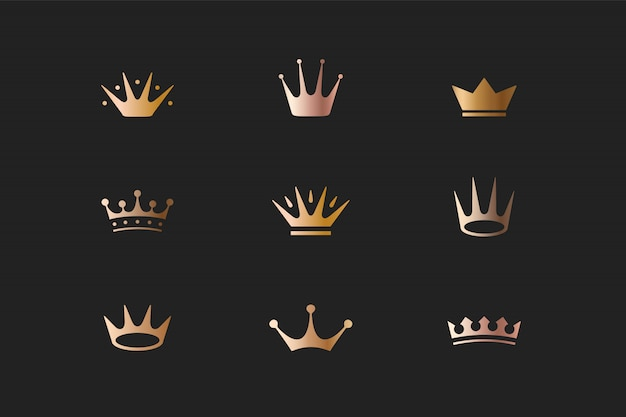 Set of royal gold crowns, icons and logos