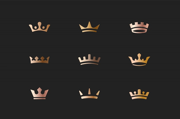 Set of royal gold crowns icons and logos