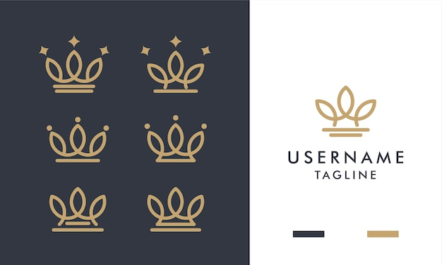 Set of royal gold crowns  logo  with line art style