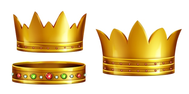 Set of royal golden crowns decorated with gems