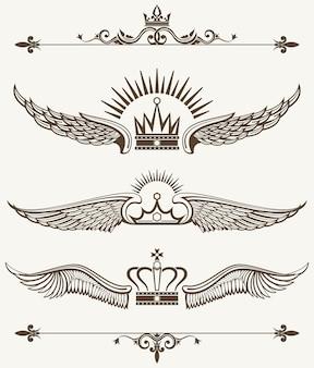 Set of royal winged crowns design elements