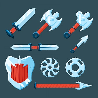 Set of rpg game weapon
