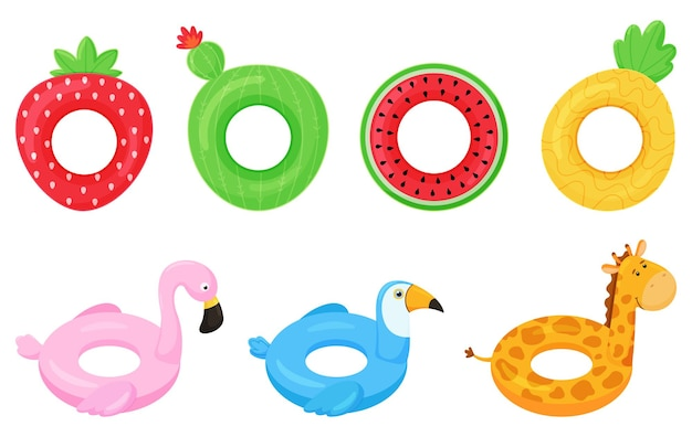 Set of rubber colorful inflatable swimming rings