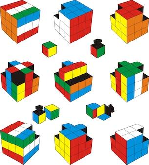 Set of rubik's cube vector illustration