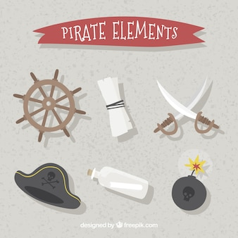 Set of rudder and pirate elements