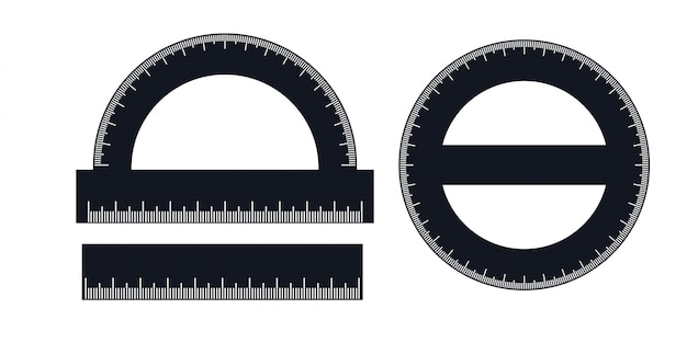 A set of rulers and protractors
