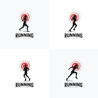 Set of run logo design vector logo design