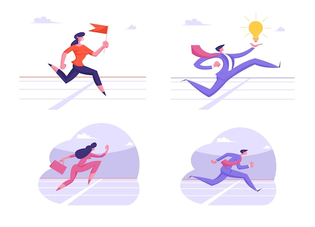 Set of running business characters crossing finish line on stadium