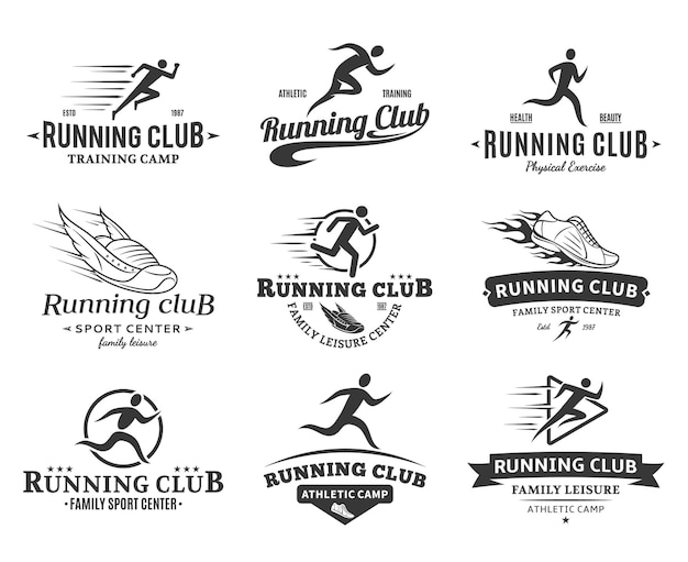 Set of running club logo templates.