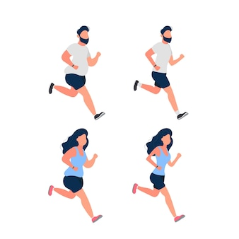 Set of running fat people. fat man and woman are running. the concept of weight loss and a healthy lifestyle. isolated. vector