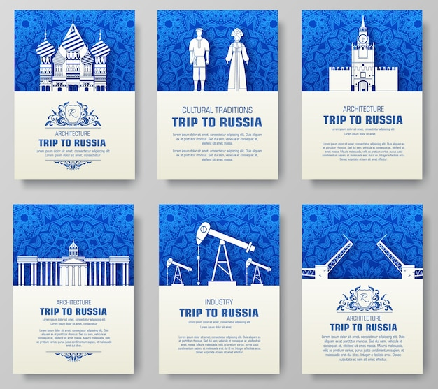 Set of russia country ornament illustration concept