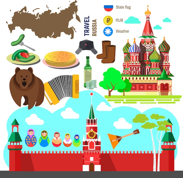 Set of russia travel symbols.
