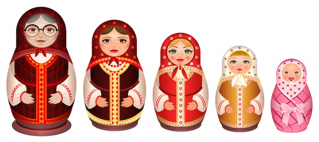 Set russian wooden nesting doll. traditional retro souvenir from russia