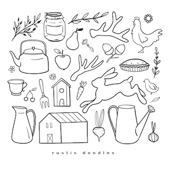 Set of rustic doodles isolated on white vector sketches with countryside vibe