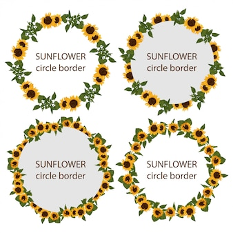 Set of rustic sunflower circle border