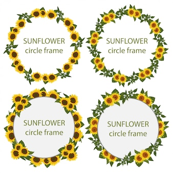 Set of rustic sunflower circle frame