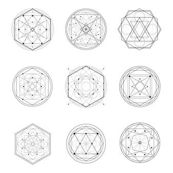 Set of sacred geometry shape line art