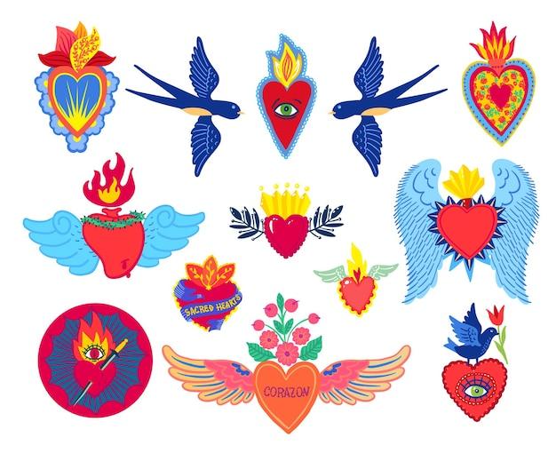 イエスの聖心を設定する古い学校の入れ墨のスタイルを印刷します。