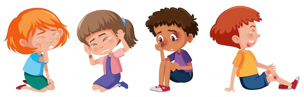 Set of sad children with bruises on white background
