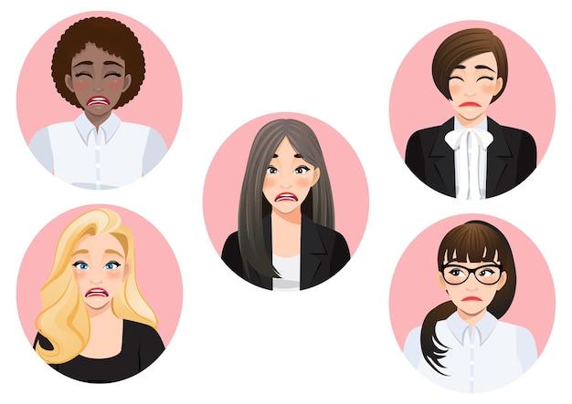 Set of sad mood diverse business women