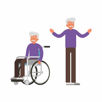 Set of sad old man sits in wheelchair and happy man stands with raised arms.
