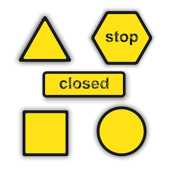 Set of safety caution signs and symbols
