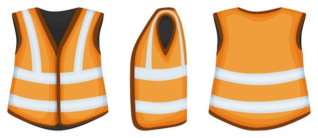 Set of safety vest isolated on white