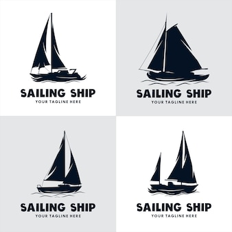 Set of sailing ship logo