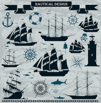 Set of sailing ships with nautical design elements.