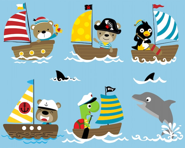 Set of sailor cartoon on sailboat with a dolphin