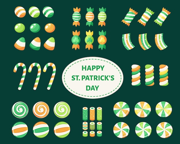 Set of saint patrick's day sweets and candies