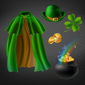 Set of saint patricks day elements, isolated on background. green cape of leprechaun