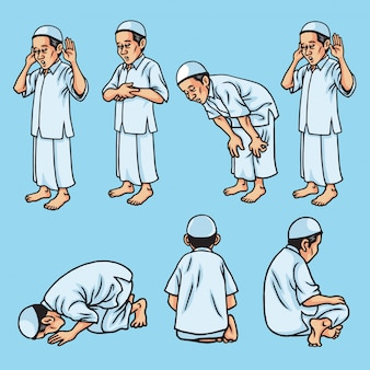 Set of salah, sholat, shalat, muslim pray movement, illustration