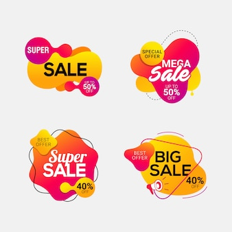 Set of sale badges with liquid color abstract shapes