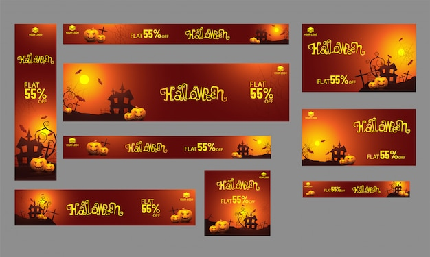 Set of sale banner, poster and template with 55% discount offer