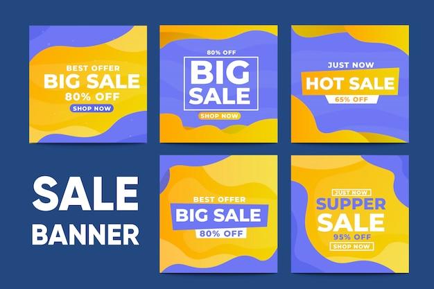 Set of sale banner social media template
