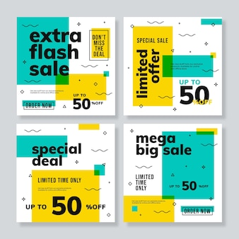 Set of sale banner template in square size, modern style