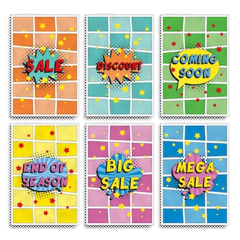 Set of 'sale' banners design template in retro pop art style. simple flat colors promotion illustration. easy to edit and customize.