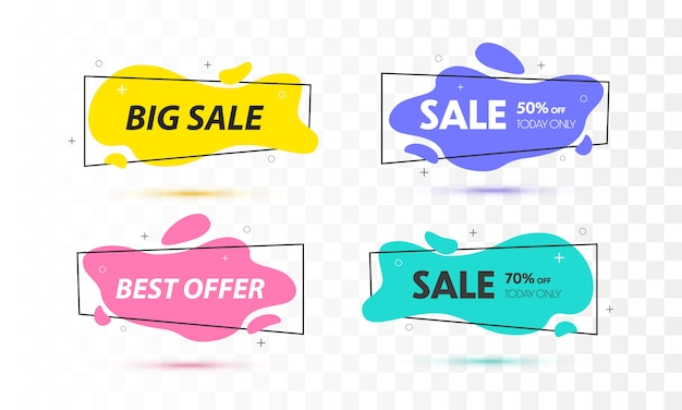 Set of sale banners with trendy shapes.